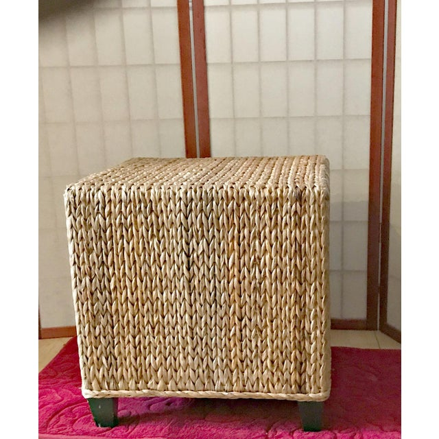 Wicker Rattan Cube Footstool, Table or Seat - Image 3 of 5