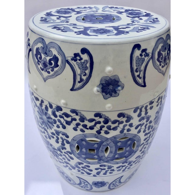 Chinese Porcelain Garden Seat in Blue and White Floral Motif For Sale - Image 11 of 13