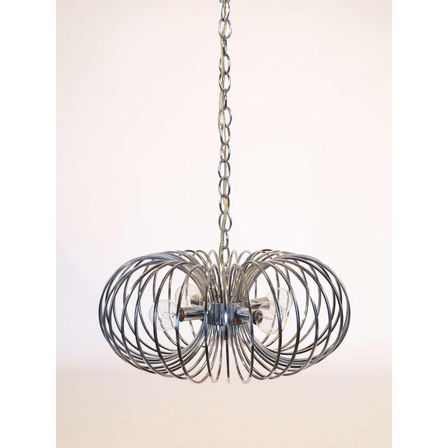 "Mid-Century Modern Gaetano Sciolari ""Cage"" pendant lamp by Lightolier For Sale - Image 3 of 11"