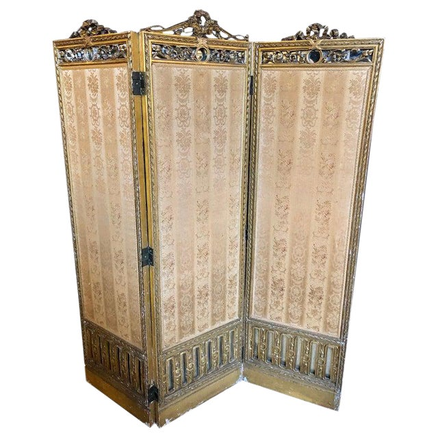 Louis XVI Style 3-Panel Folding Screen / Room Divider With French Tapestry For Sale