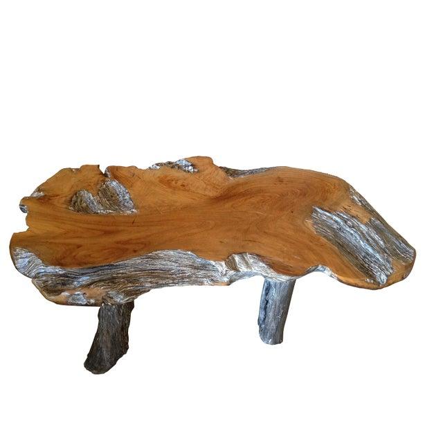 Rustic Natural Edge Teak Slab Coffee Table - Image 5 of 7