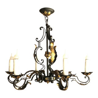 Antique Country French Painted Wrought Iron Chandelier For Sale
