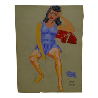 "1947 Mid-Century Modern Original Painting on Paper, ""Blue Dress"" by Tom Sturges Jr"