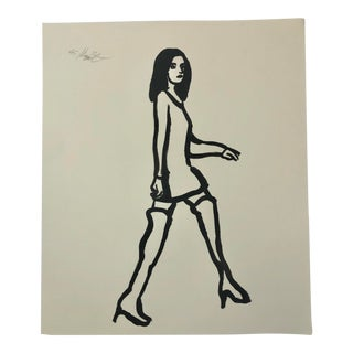 """""""Made for Walkin'"""" Painting on Paper, Signed by Artist For Sale"""