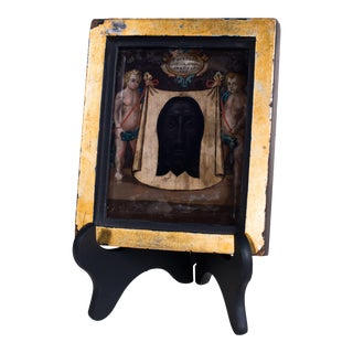 19th Century Italian Icon Shroud of Turin Collage, Beveled Glass, Gold Leafed Frame For Sale
