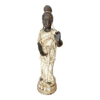 Large Quan Yin Buddha Ceramic Sculpture For Sale