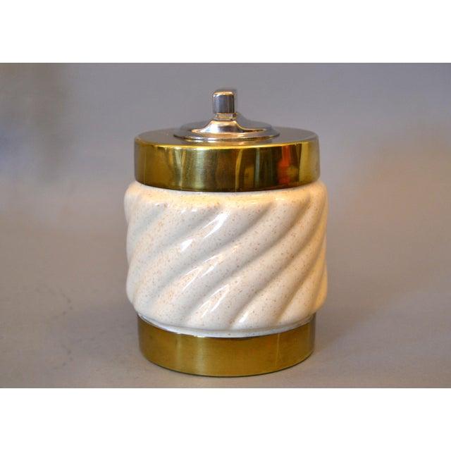 Mid-Century Modern Tommaso Barbi Beige Ceramic & Brass Lighter Italy, Signed For Sale - Image 10 of 11