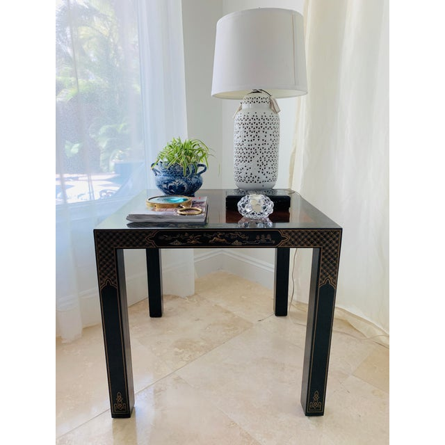Black Vintage Drexel Heritage Et Cetera Chinoiserie Lacquer End Side Squared Table For Sale - Image 8 of 13