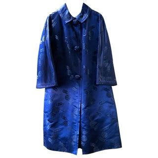 Chinese Handmade Blue Silk Coat For Sale