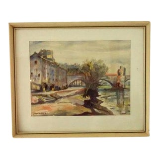 1930's French Artist Watercolor Painting For Sale