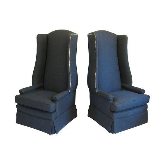 Art Deco Pair of Monumental Upholstered Wing Back Chairs For Sale - Image 3 of 4