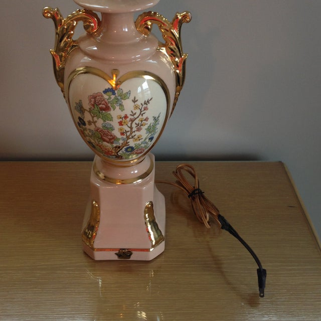 Vintage Blush Colored Deena China Lamp - Image 11 of 11