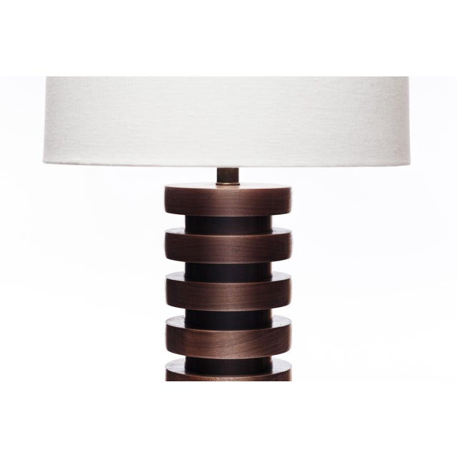 Contemporary Lawrence & Scott Malmo Walnut Table Lamp For Sale - Image 3 of 8