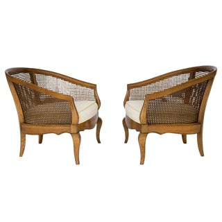 Caned Lounge Chairs, A Pair