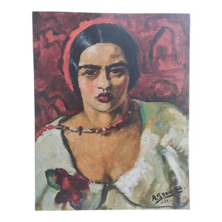 Amrita Sher-Gil Self Portrait #4 - Canvas on Frame (Reproduction Print) For Sale