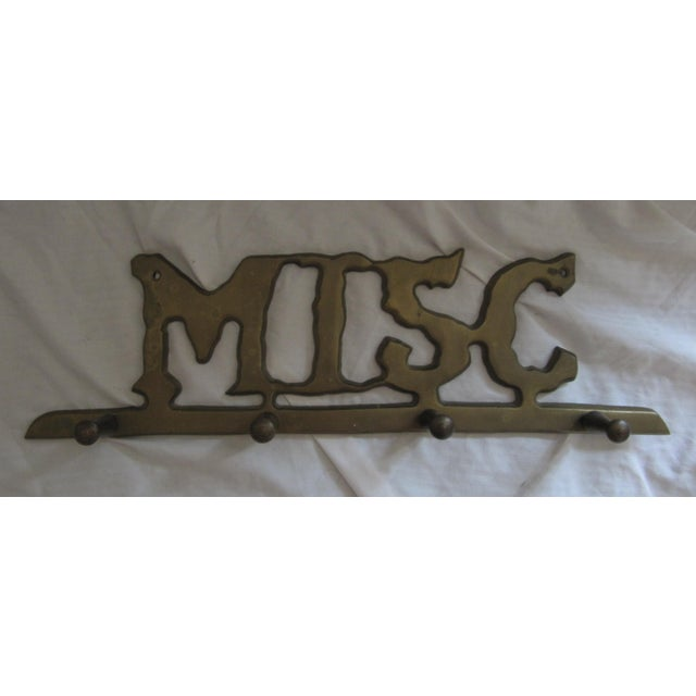 """Traditional Vintage Brass """"Misc"""" Wall Hook For Sale - Image 3 of 3"""