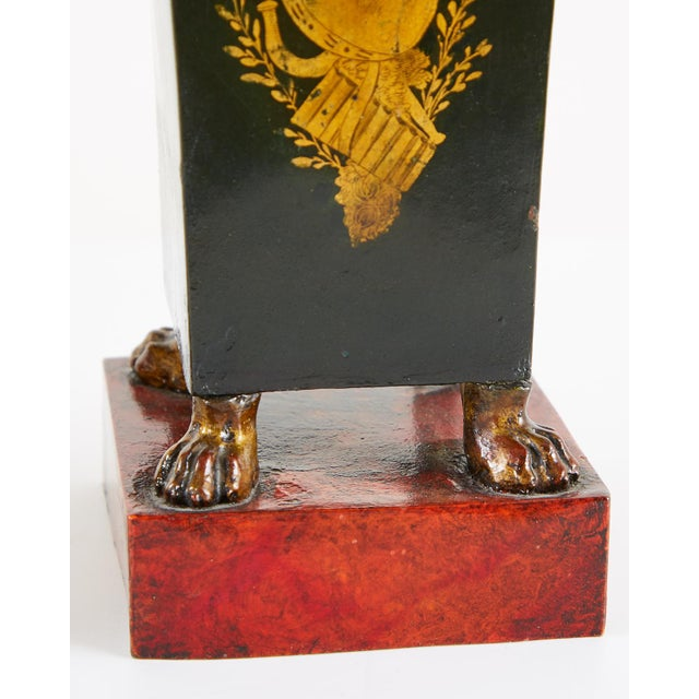 Metal French Neoclassical Directoire Style Tole Vases - a Pair For Sale - Image 7 of 13