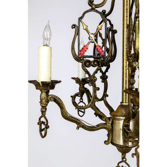 Medieval Revival Coat of Arms and Painted Arrows Chandelier For Sale - Image 4 of 8