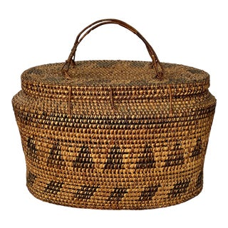 Large Vintage Lidded Basket For Sale