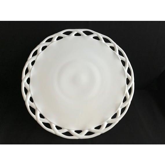 White 1950s Pitman-Drietzer Colony Lace Edge Milk Glass Cake Stand For Sale - Image 8 of 11