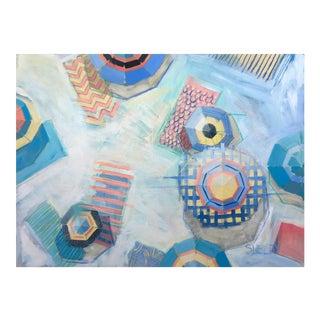 "Beach Boho Chic ""Blue Lagoon"" Coastal Painting"