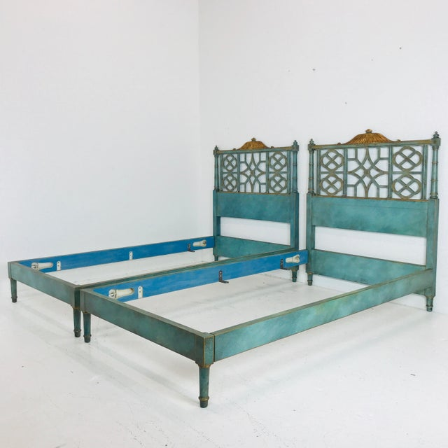 Asian Pair of Twin Chinoiserie Pagoda Beds by Kittinger For Sale - Image 3 of 12