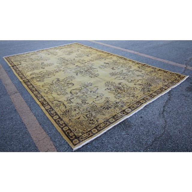 "Islamic Vintage Distressed Overdyed Rug - 6'8"" X 10'4"" For Sale - Image 3 of 6"
