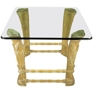 Limed Alder Center Table with Carved Wheat Relief and Glass Top For Sale