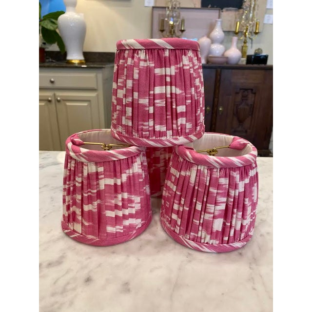 Textile Custom Lamp Sconce Shades in Pink Ikat Fabric - Pair For Sale - Image 7 of 9