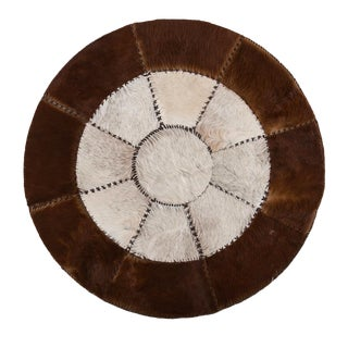 Hair-on-Hide Cowhide Patchwork Round Area Rug - 4′3″ × 4′3″ For Sale