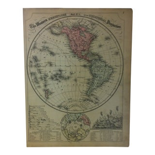 """Antique Mitchell's New School Atlas Map, """"The Western Hemisphere on an - Equatorial Projection"""" by e.h. Butler Pub. - 1865 For Sale"""