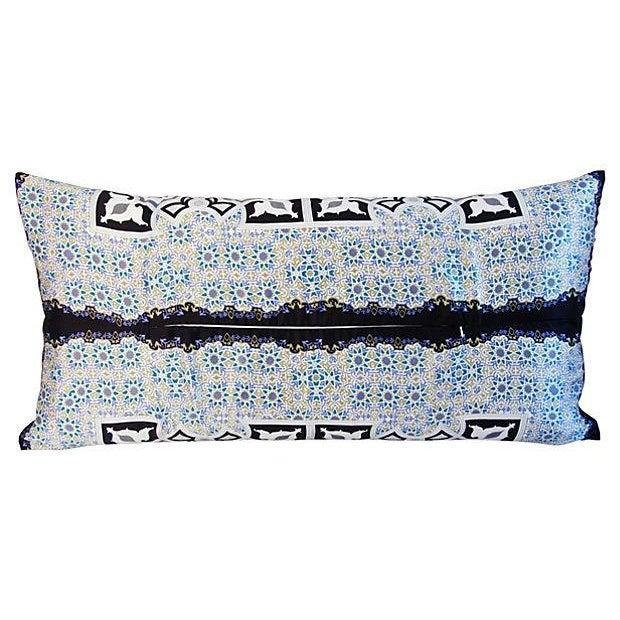 "Jumbo Italian Silk Andalusian Moorish Feather/Down Lumbar Pillow 37"" X 18"" For Sale - Image 4 of 8"