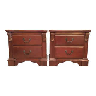 French Country Bed Cherry Wood Nightstands - A Pair For Sale
