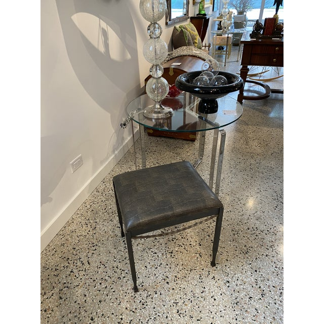 Vintage Artisan Wrought Iron Stool With Faux Lizard Fabric For Sale - Image 12 of 12