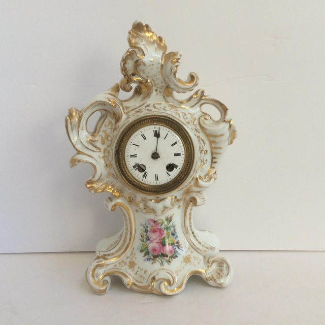 Beautiful antique Paris Porcelain Floral Decorated Rococo Clock With non functional clock and distressed Enamel clock...