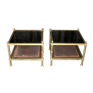 1970s French Provincial Gold Metal and Glass Side Tables - a Pair For Sale