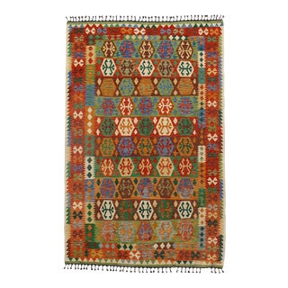 Afghan Kilim Handspun Wool Rug - 6′6″ × 9′11″ For Sale