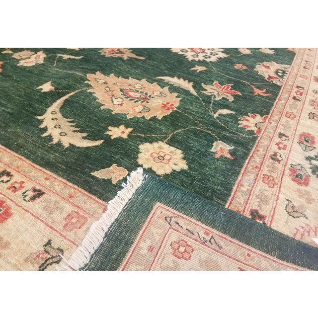 "Kafkaz Peshawar Nichole Green & Ivory Wool Rug - 9'11"" x 13'10"" For Sale In New York - Image 6 of 7"