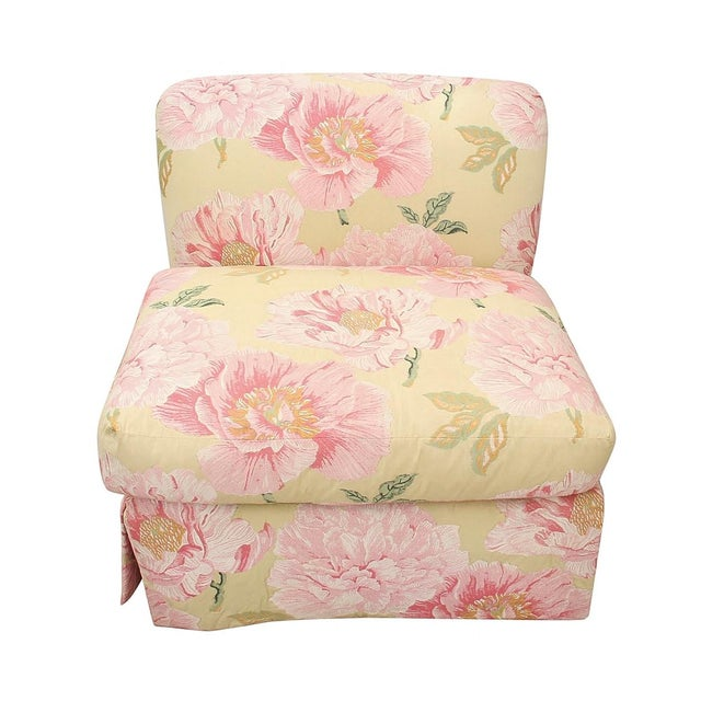 Shabby Chic Embroidered Scalamandre Slipper Chairs- a Pair For Sale - Image 3 of 6