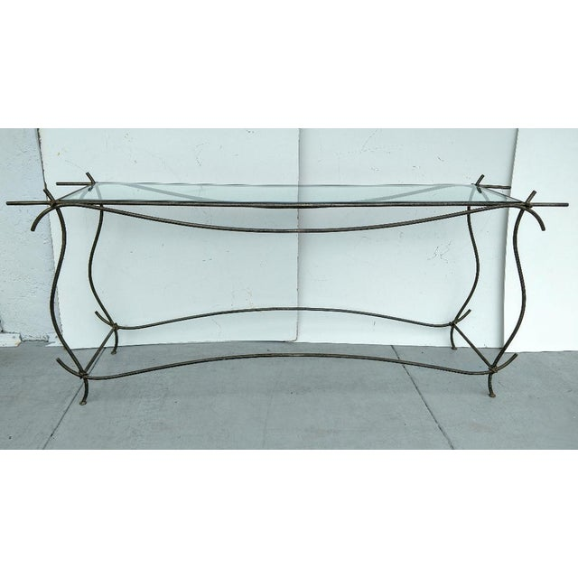 Wrought Iron and Glass Console Table, Vintage For Sale - Image 13 of 13