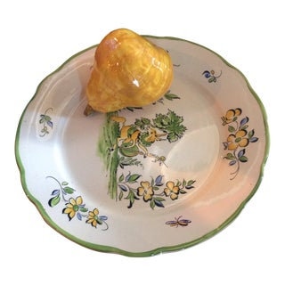 1970s Vintage French Trompe L'oeil Pear Plate For Sale