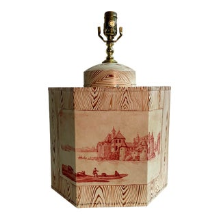 English Export Hand Painted Tea Caddy Lamp With Faux Wood Print For Sale