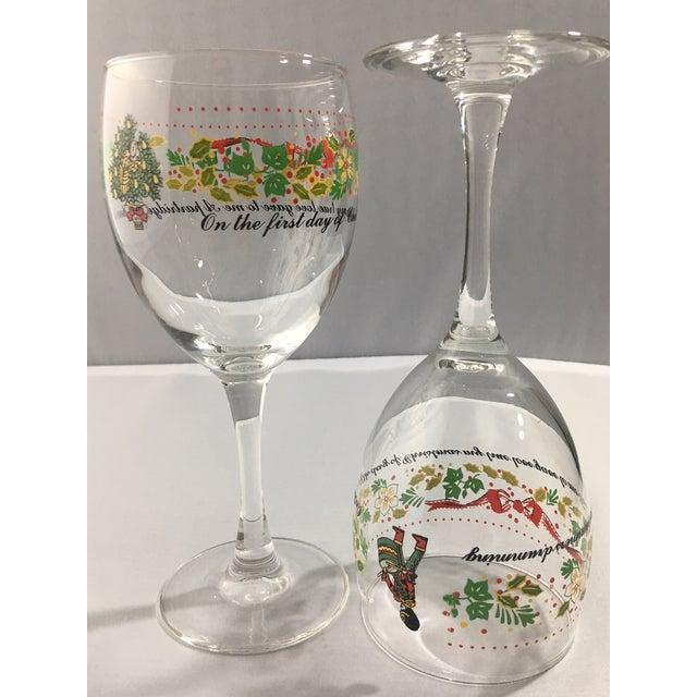 glass vintage 12 days of christmas wine glasses complete set of 12 for sale image