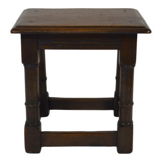 Late 19th-Century English Oak Joined Stool For Sale
