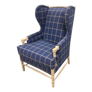 Nautical Blue and White Wing-Back Armchair- 2 Available