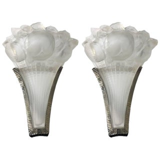 Lalique Signed French Art Deco Sconces - A Pair For Sale
