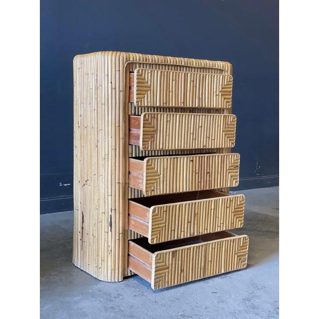 Wood Rattan Dresser For Sale - Image 7 of 9