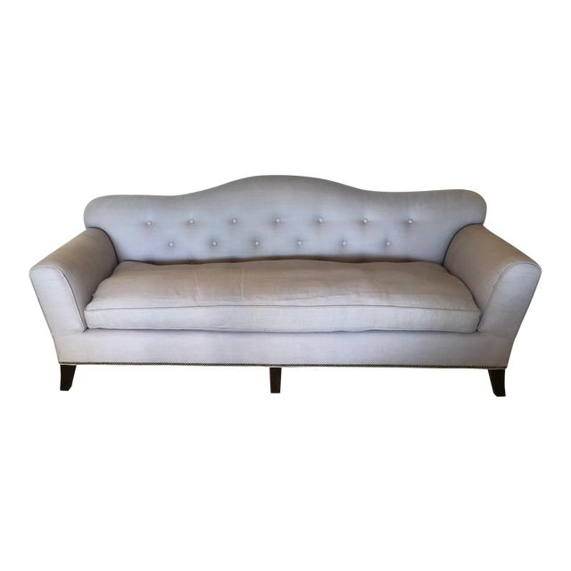 1940's Vintage Style Linen Button Tufted Sofa For Sale