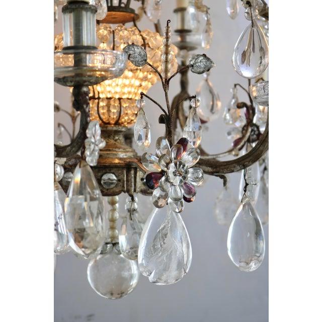 Silver Masion Bagues, 12-Light, Rock Crystal & Amethyst Chandelier For Sale - Image 8 of 11