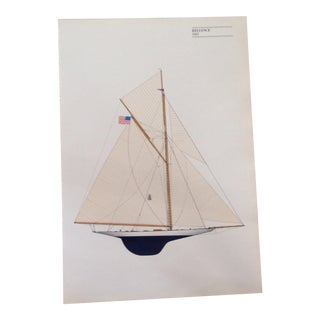 "Vintage ""Reliance"" Sailboat Lithograph Print"